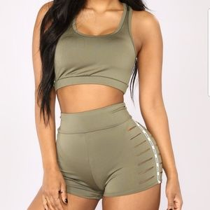 Shorts and Crop Top Set - Olive Green